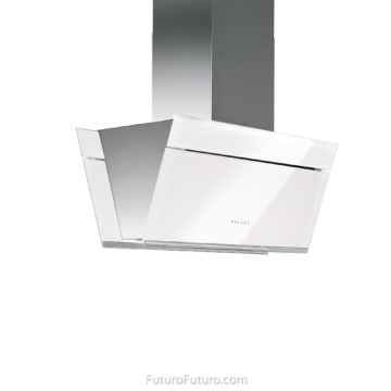 Motorized Glass Kitchen Hood 36 inch Gullwing White Island Range Hood Futuro Futuro Range Hoods