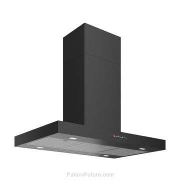 Black kitchen ceiling mounted range hood | Modern black island range hood