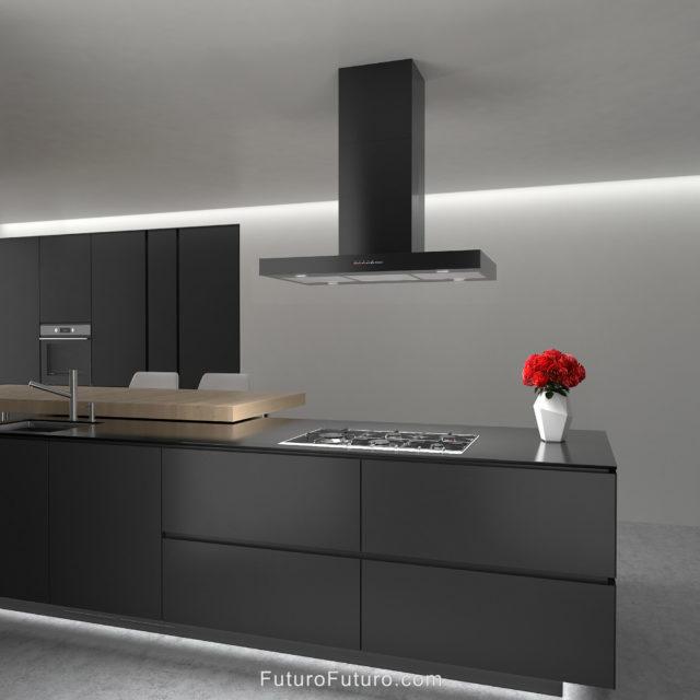 Black kitchen ceiling mounted range hood | Modern black island range hood