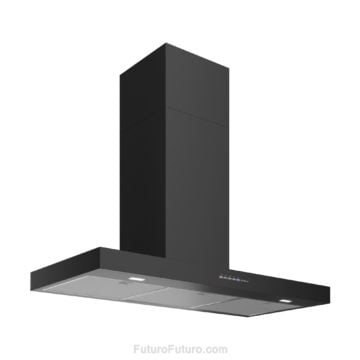 Black kitchen cabinets wall mount range hood | Black and white kitchen range hood