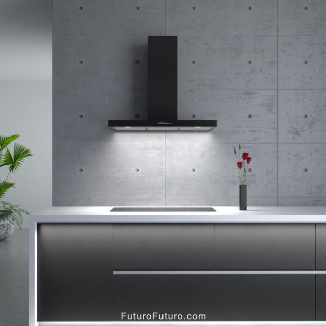 Black kitchen vent hood | Modern black kitchen hood