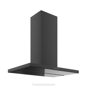 Black kitchen cabinets ceiling mount range hood | Black island range hood
