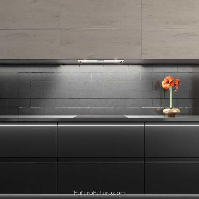 Black kitchen cabinets stove hood | built-in cabinet stainless steel range hood
