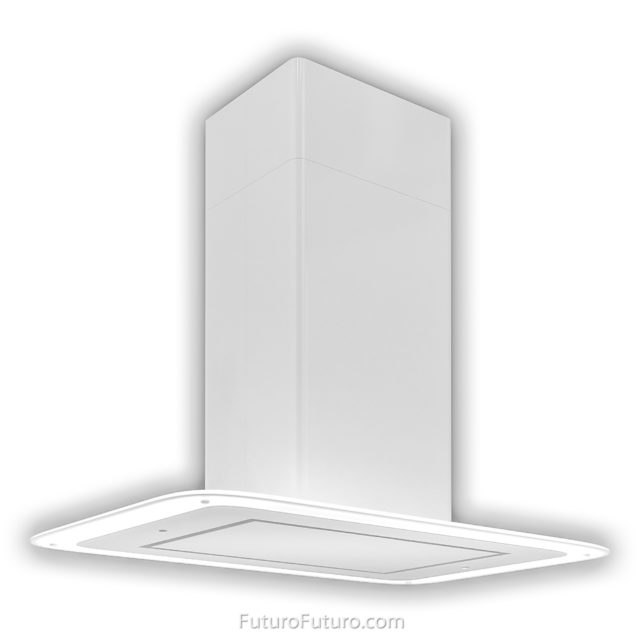 Contemporary white kitchen hood | White illuminated range hood
