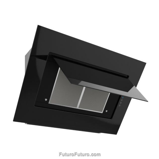 Black glass wall mount range hood | Black designer kitchen hood