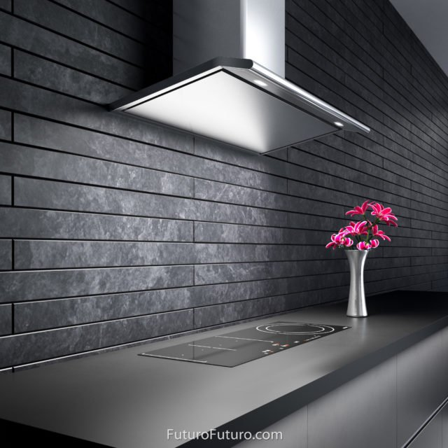 Designer and made in Italy modern kitchen hood | black quartz countertops stove hood