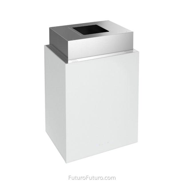White glass kitchen hood - 24 inch Lombardy White island range hood - Futuro Futuro range hoods