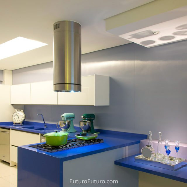 Contemporary ceiling mount range hood | modern kitchen range hood
