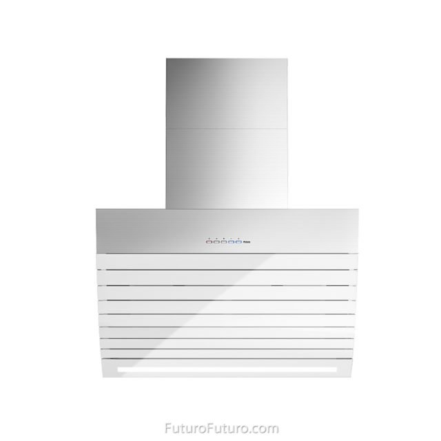 Designer white kitchen hood | White glass range hood