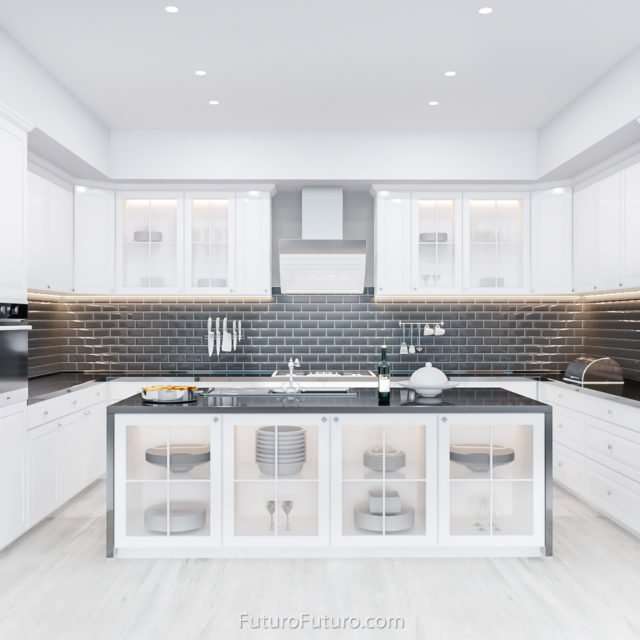 Glossy white kitchen exhaust hood | Luxury kitchen hood