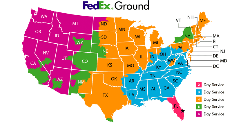 FedEx Ground - delivery time map
