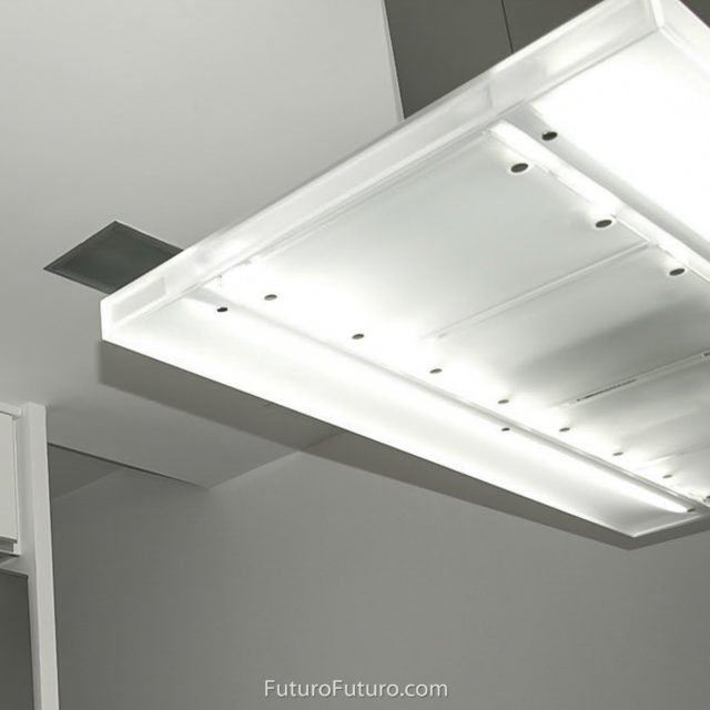 Internally illuminated range hood | Fingerprint-free stainless steel range hood