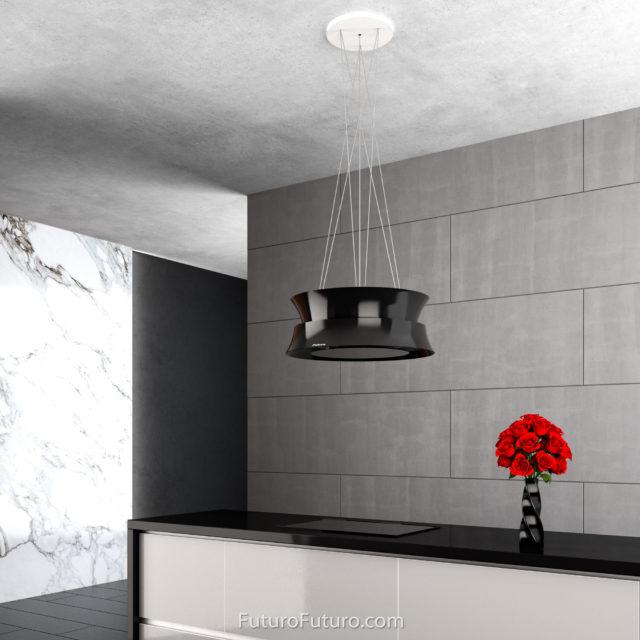 White kitchen cabinets ceiling mounted range hood | Black quartz countertops stove hood | Glossy black range hood