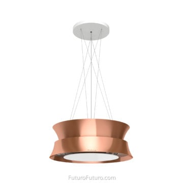 Copper + glass vent hood | Modern island range hood | black kitchen island