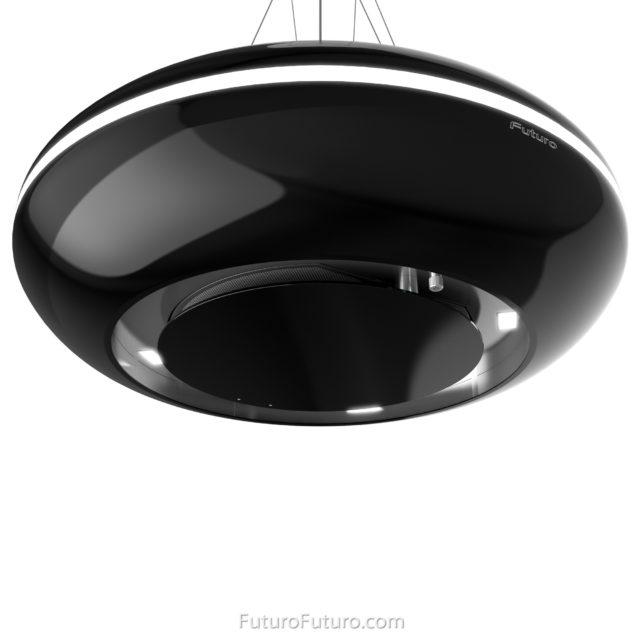 Modern round kitchen hood - 30 inch Orbit Black Island range hood - Futuro Futuro range hoods