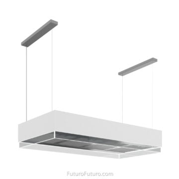 White kitchen cabinet island range hood | White ceiling mounted range hood