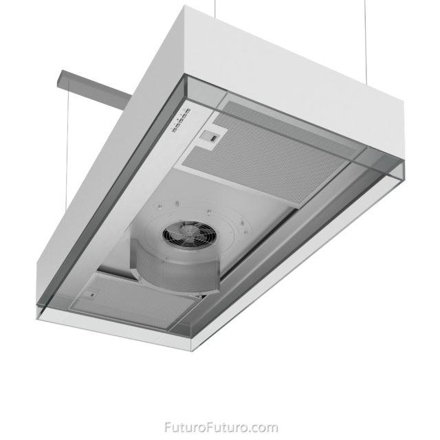 Designer kitchen hood - 48-inch Perimeter White Island range hood - Futuro Futuro range hoods