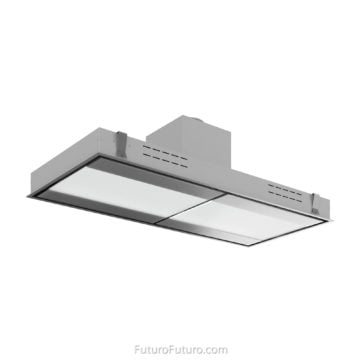 Stainless steel recirculating range hood | Designer kitchen exhaust hood