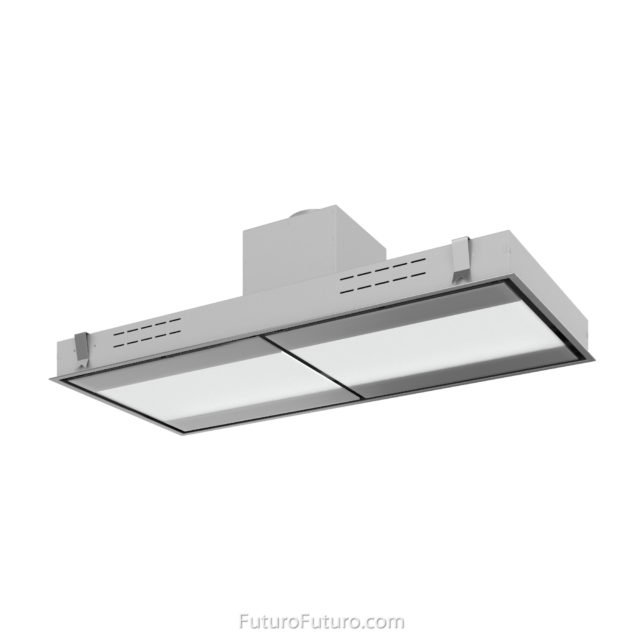 Glass and stainless steel island range hood | Glass ceiling mount range hood