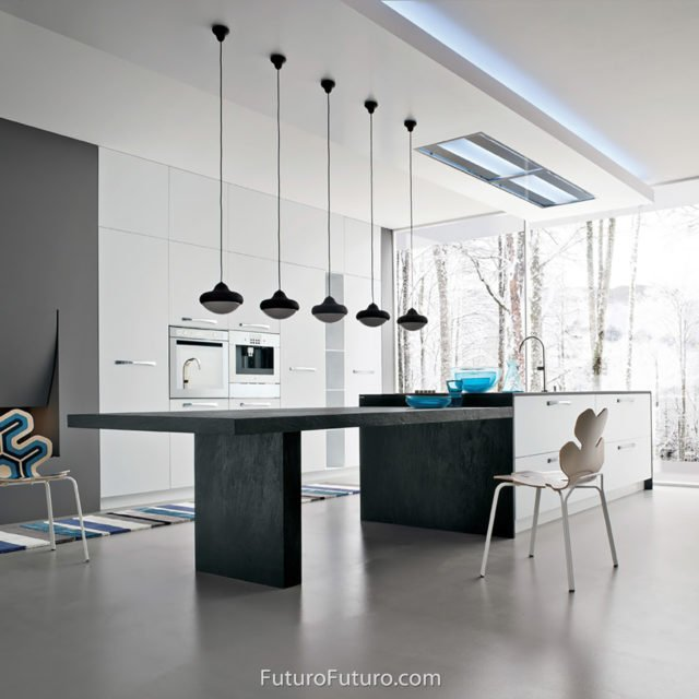 Glass flush ceiling mount range hood | Futuristic look kitchen island vent hood