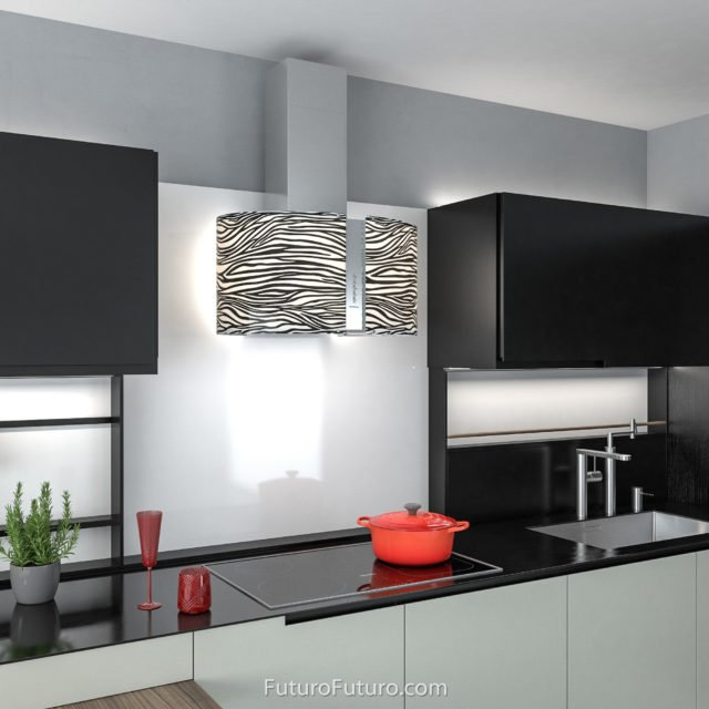 Black-white LED illuminated stove hood | Contemporary vent hood