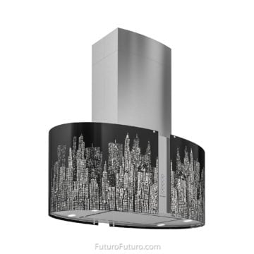 Illuminated black glass kitchen hood - 34 inch Murano New York Island range hood - Futuro Futuro range hoods