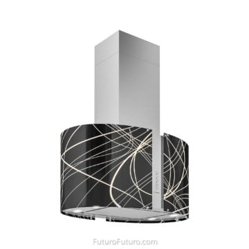 Contemporary kitchen glass range hood | Island stove hood
