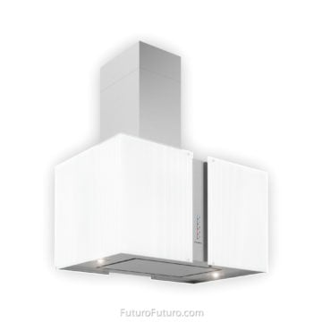 Black and white kitchen island hood | Premium ceiling mount range hood