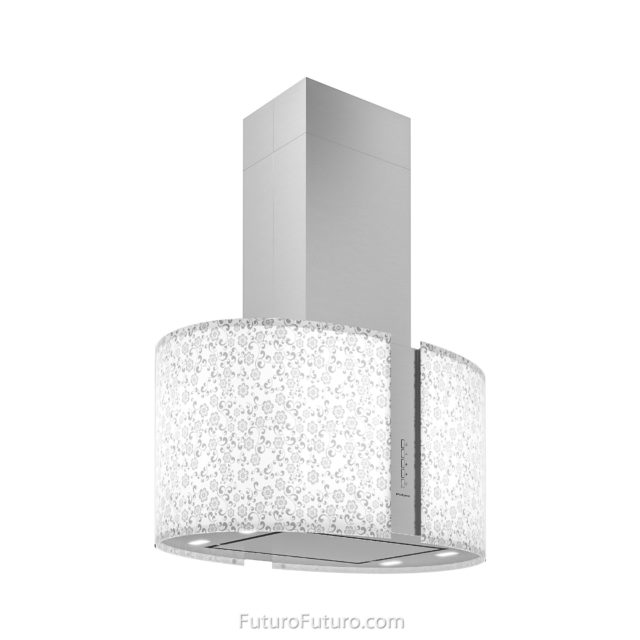White and gray illuminated glass kitchen hood | Luxury island range hood