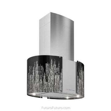 Black illuminated stove hood | Impressive kitchen range hood