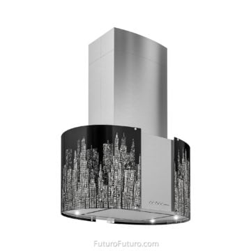 Black illuminated glass kitchen hood - 27-inch Murano New York LED Island range hood - Futuro Futuro range hoods
