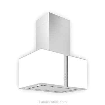 White illuminated glass kitchen hood - 27-inch Murano Snow LED Island range hood - Futuro Futuro range hoods