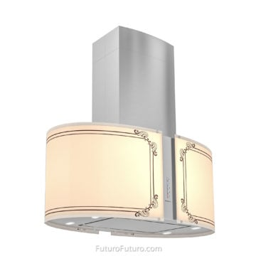 Illuminated glass kitchen hood - 34 inch Murano Empire island range hood - Futuro Futuro range hoods