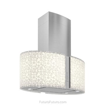 Illuminated glass white kitchen hood - 34 inch Murano Mayflower island range hood - Futuro Futuro range hoods