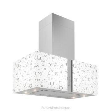 Illuminated glass island range hood | Contemporary island hood