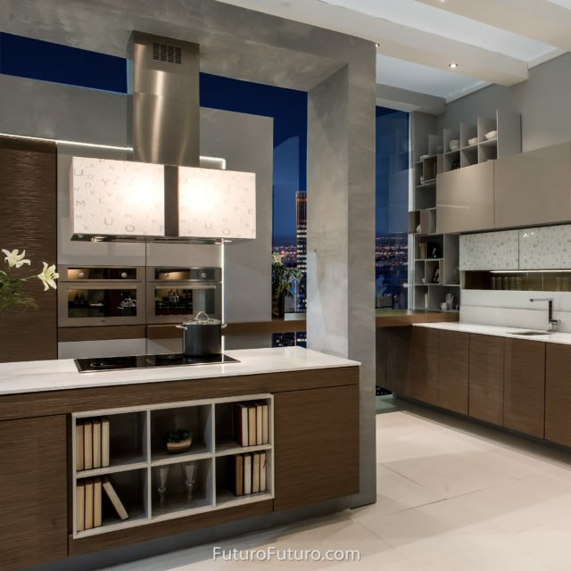 Brown kitchen ceiling mount range hood | Contemporary kitchen recirculating range hood