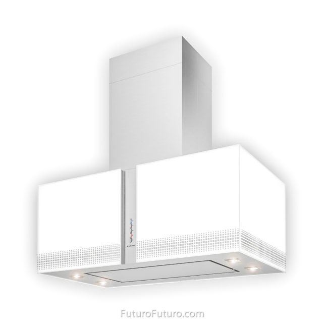 White illuminated glass kitchen hood | White glass range hood