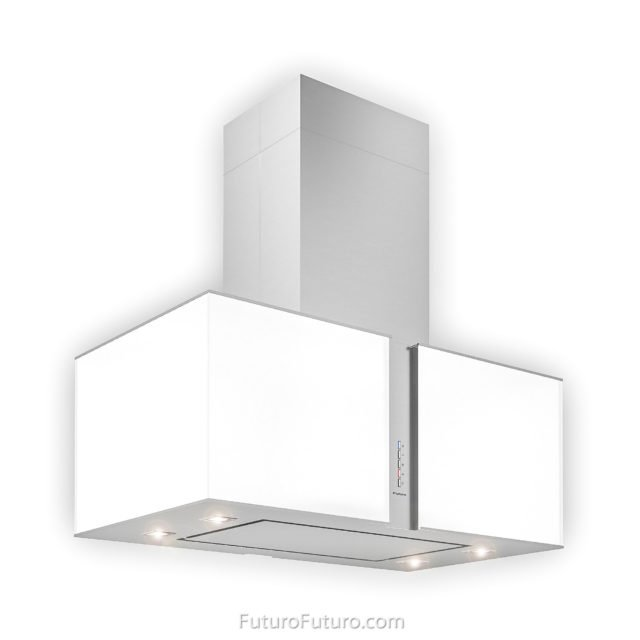 White glass range hood | Contemporary kitchen hood