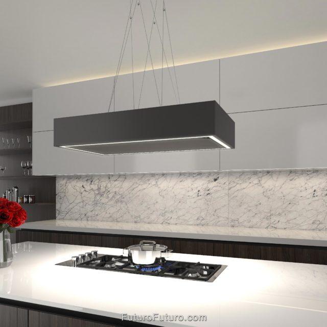 Powerful quiet recirculating hood vent | White kitchen countertop