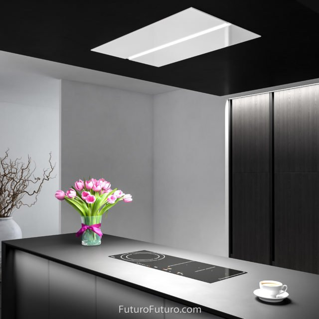 Kitchen lights island range hood | Modern cooktop white range hood