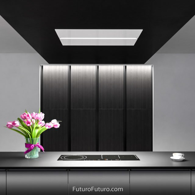 White glass kitchen range hood | Black countertop island range hood