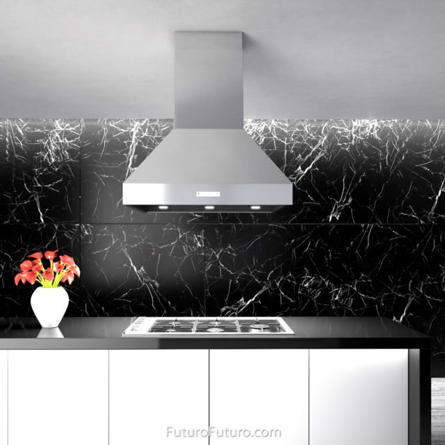 Black and white kitchen island range hood | Ceiling mount range hood