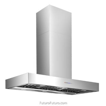 Black kitchen ceiling mount  range hood | Professional design kitchen hood vent