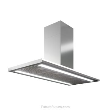 Fluorescent light accent strip island range hood | Contemporary ceiling mount range hood