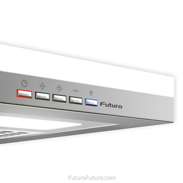 Chrome colored buttons control panel | Control panel on stainless steel range hood