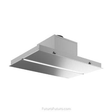 Soffit kitchen stove hood | Quartz countertop flush ceiling mount range hood
