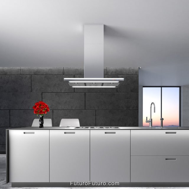 White kitchen cabinets stove hood | Modern kitchen exhaust fan