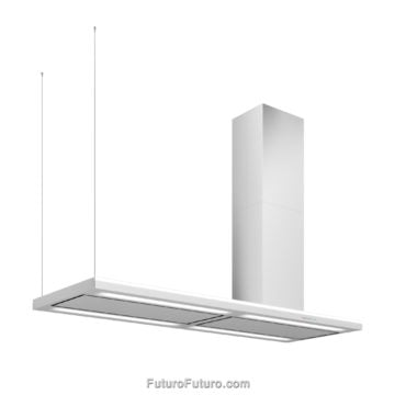 Designer & Made in Italy luxury kitchen range hood | 69-inch Streamline right-handed island range hood | Futuro Futuro range hoods