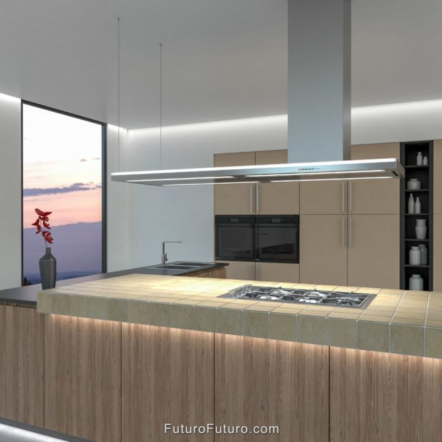 Luxury kitchen exhaust hood | LED strip illuminated kitchen range hood
