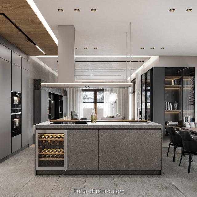 Granite countertops kitchen island | 69 inch Italian island range hood | vine refrigerator